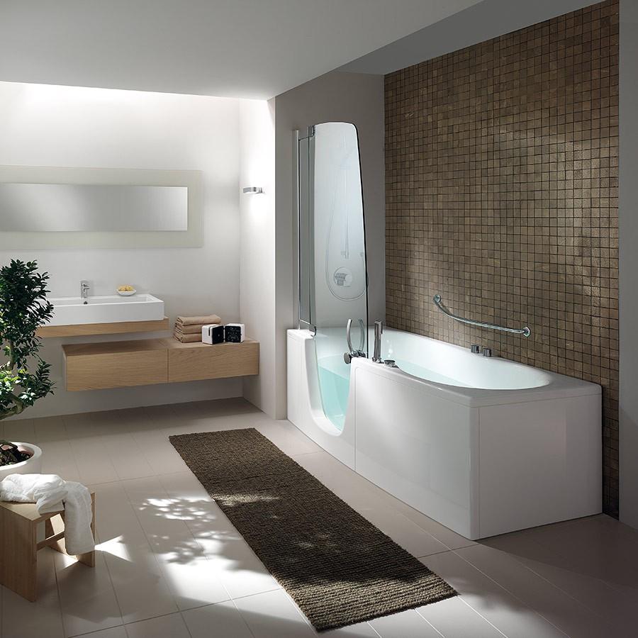Badkar 385 för hörna med dörr och duschvägg Made in Italy