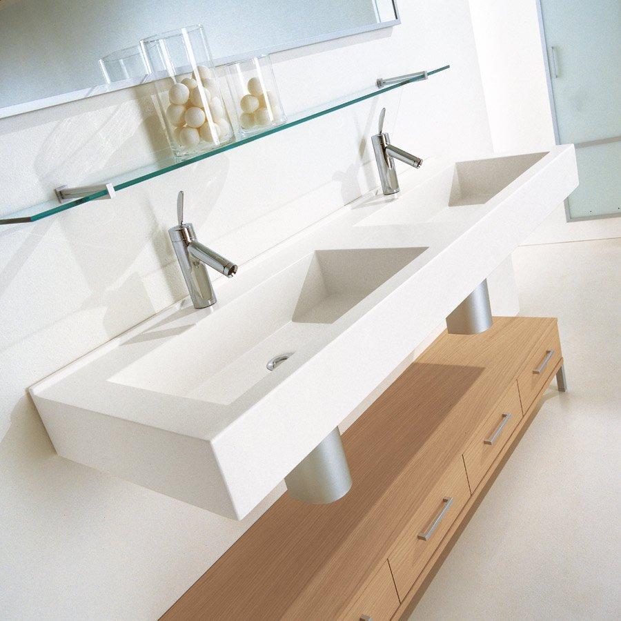 Dubbelt tvättställ för montering på vägg eller bänkskiva från Italien