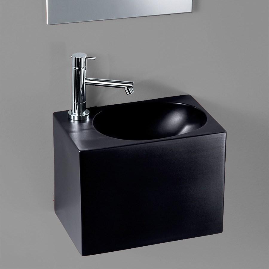 Litet rektangulärt tvättställ i svart porslin, från italien